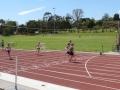 The finish of one of the 100 m races